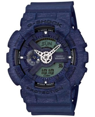 G-Shock Men's Chronograph Analog-Digital Blue Bracelet Watch 55x51mm GA110HT-2A