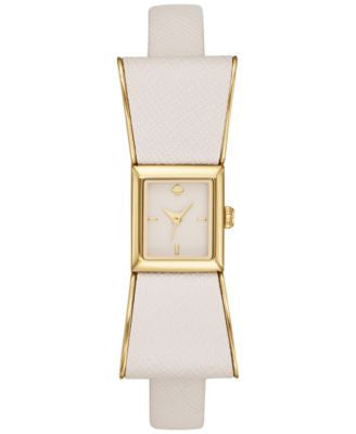kate spade new york Women's Kenmare White Leather & Gold-Tone Stainless Steel Strap Watch 16x55mm 1Y