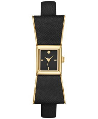 kate spade new york Women's Kenmare Black Leather & Gold-Tone Stainless Steel Strap Watch 16x55mm 1Y