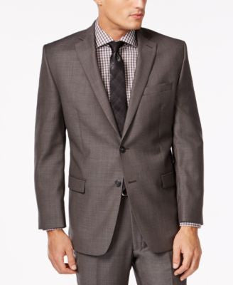 Calvin Klein Jacket Charcoal Pindot 100% Wool Slim Fit