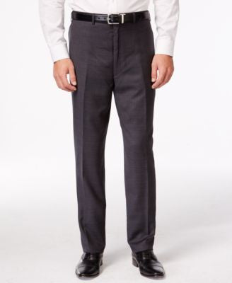 Shaquille O'Neal Collection Big and Tall Charcoal Plaid Pants, Only at Vogily