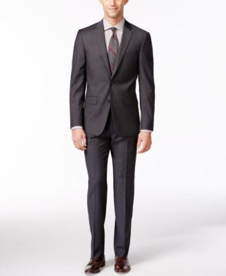 DKNY Grey Solid Suit Separates Extra Slim Fit
