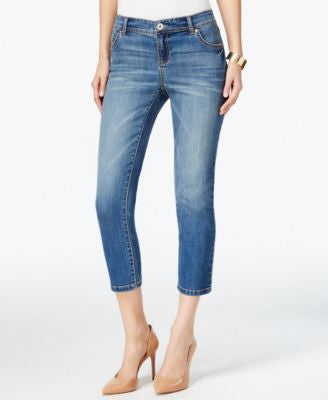 INC International Concepts Curvy-Fit Cropped-Leg Gardenia Wash Jeans, Only at Vogily