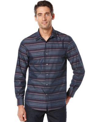 Perry Ellis Multi-Stripe Long-Sleeve Shirt