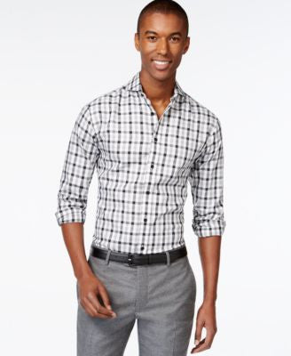 Vince Camuto Men's Plaid Long-Sleeve Shirt