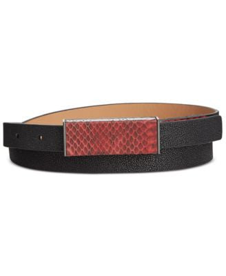 Calvin Klein Snake-Embossed Plaque Buckle Belt
