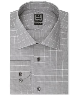 Ike Behar Grey Check Dress Shirt