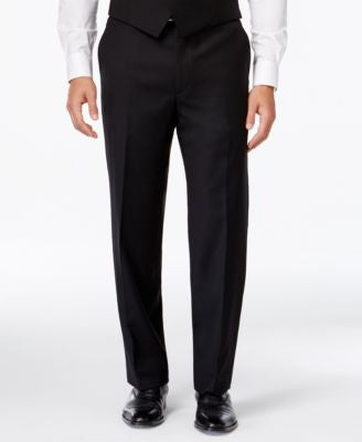 Lauren Ralph Lauren Black Solid Big and Tall Classic-Fit Dress Pants