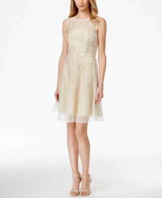 Tahari ASL Metallic Floral Illusion Flare Dress
