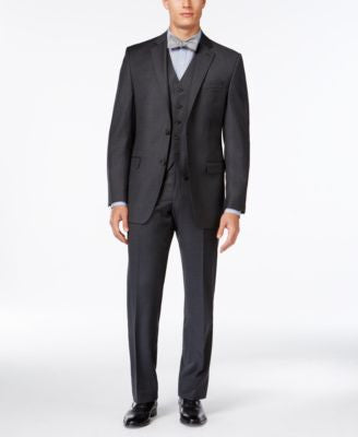 Lauren Ralph Lauren Solid Charcoal Big and Tall Classic-Fit Suit Separates