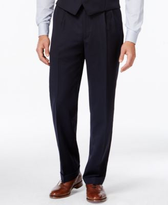 Lauren Ralph Lauren Navy Solid Big and Tall Classic-Fit Dress Pants