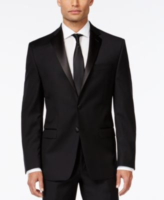Calvin Klein Black Solid Slim-Fit Tuxedo Jacket