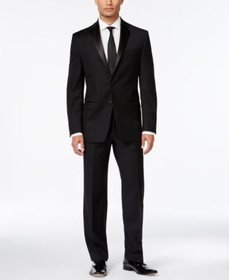 Calvin Klein Black Solid Slim-Fit Tuxedo Separates