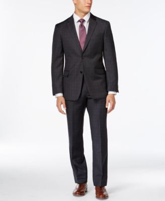Tommy Hilfiger Charcoal Windowpane Slim-Fit Suit Separates