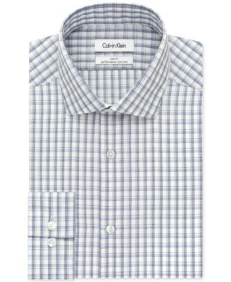 Calvin Klein STEEL Slim-Fit Non-Iron Performance Purple Box Check Dress Shirt