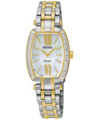 Seiko Women's Solar Tressia Diamond Accent Two-Tone Stainless Steel Bracelet Watch 22mm SUP284