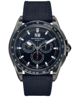 Emporio Armani Men's Swiss Chronograph Sport Blue Canvas Strap Watch 44mm ARS9104