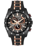 Citizen Men's Chronograph Eco-Drive Black with Rose Gold-Tone Stainless Steel Strap 45mm AT4029-01E