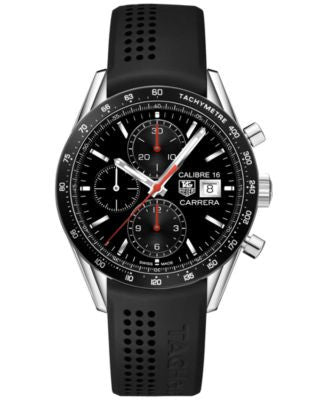 TAG Heuer Men's Automatic Chronograph Calibre 16 Black Rubber Strap Watch 41mm CV201AK.FT6040