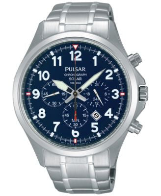 Pulsar Men's Solar Chronograph Stainless Steel Bracelet Watch 43mm PX5037