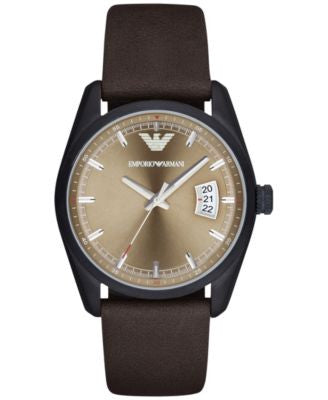 Emporio Armani Men's Tazio Black Dark Brown Leather Strap Watch 43mm AR6081