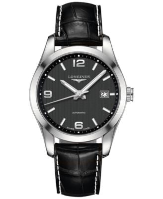 Longines Men's Automatic Conquest Classic Black Leather Strap Watch 40mm L27854563