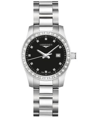 Longines Women's Conquest Diamond (2/5 ct. t.w.) Stainless Steel Bracelet Watch 30mm L33000576