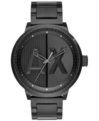A|X Armani Exchange Men's Black Ion-Plated Stainless Steel Bracelet Watch 49mm AX1365