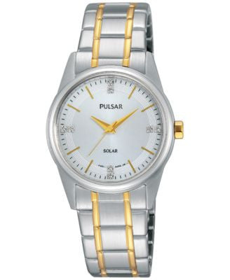 Pulsar Women's Solar Dress Two-Tone Stainless Steel Expansion Bracelet Watch 28mm PY5003