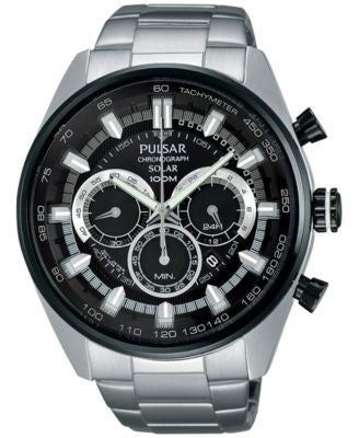Pulsar Men's Solar Chronograph Stainless Steel Bracelet Watch 45mm PX5033