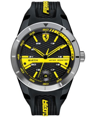 Scuderia Ferrari Men's RedRev T Black Silicone Strap Watch 44mm 0830277