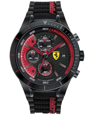 Scuderia Ferrari Men's Chronograph RedRev Evo Black Silicone Strap Watch 46mm 830260