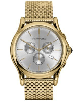 Emporio Armani Men's Swiss Chronograph Classic Gold-Tone Stainless Steel Bracelet Watch 44mm ARS4012