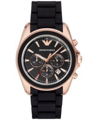 Emporio Armani Men's Chronograph Sigma Black Rubber Strap Watch 44mm AR6066