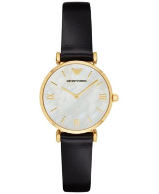 Emporio Armani Women's Gianni T-Bar Black Leather Strap Watch 32mm AR1910