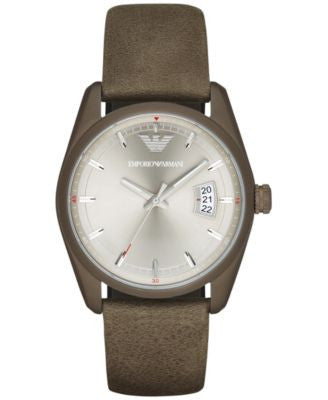 Emporio Armani Men's Tazio Khaki Leather Strap Watch 43mm AR6079