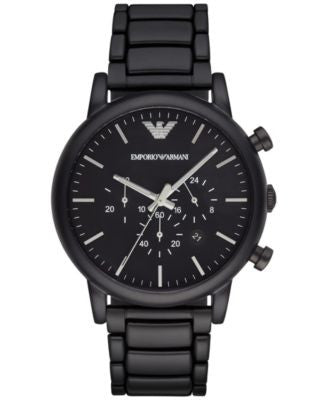 Emporio Armani Men's Chronograph Luigi Black Stainless Steel Bracelet Watch 46mm AR1895