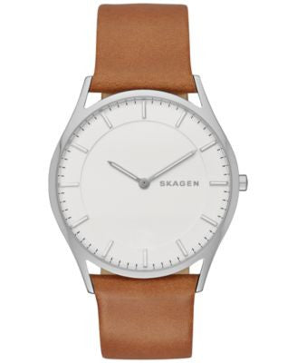 Skagen Men's Slim Holst Brown Leather Strap Watch 40mm SKW6219
