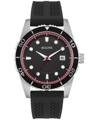 Bulova Men's Black Silicone Strap Watch 43mm 98B260