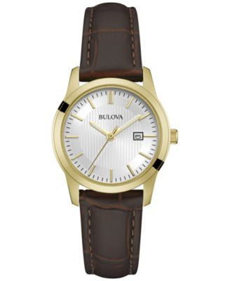 Bulova Women's Brown Leather Strap Watch 30mm 97M114