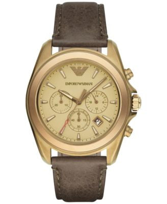 Emporio Armani Men's Chronograph Sigma Khaki Leather Strap Watch 44mm AR6071