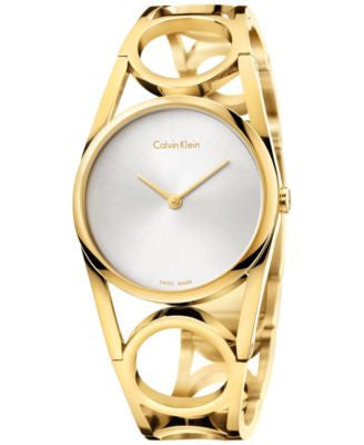 Calvin Klein Women's Swiss Round Gold PVD Stainless Steel Bracelet Watch 33mm K5U2S546