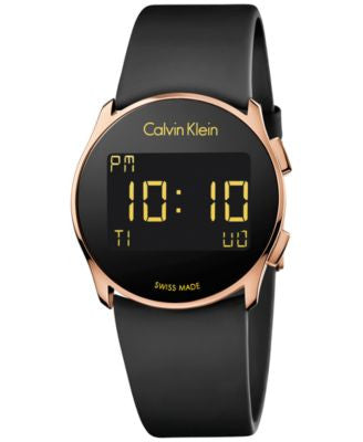 Calvin Klein Women's Swiss Digital Future Black Rubber Strap Watch 39mm K5B236D1
