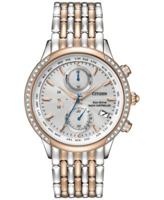Citizen Women's Chronograph Eco-Drive Diamond Accent Two-Tone Stainless Steel Bracelet Watch 38mm FC