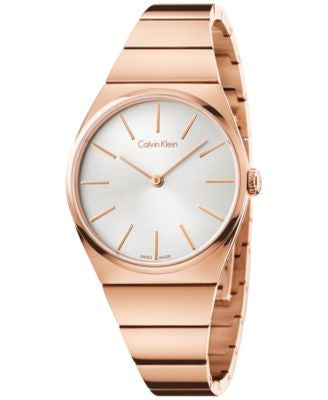 Calvin Klein Women's Swiss Supreme Rose Gold-Tone PVD Stainless Steel Bracelet Watch 33mm K6C2X646