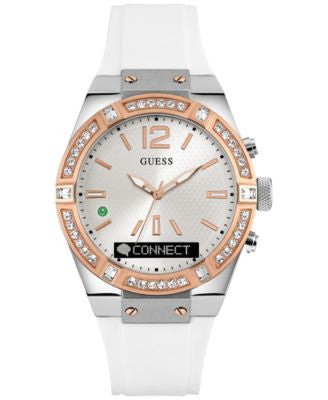 GUESS Women's Analog-Digital Connect White Silicone Strap Smartwatch 41mm C0002M2