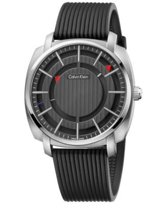 Calvin Klein Men's Swiss Highline Black Rubber Strap Watch 43mm K5M3X1D1
