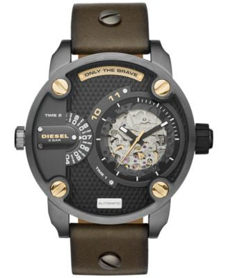 Diesel Men's Automatic Little Daddy Olive Leather Strap Watch 51x61mm DZ7364
