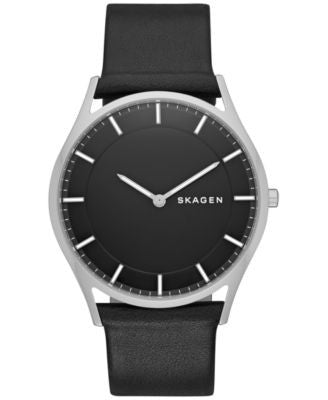 Skagen Men's Holst Black Leather Strap Watch 40mm SKW6220