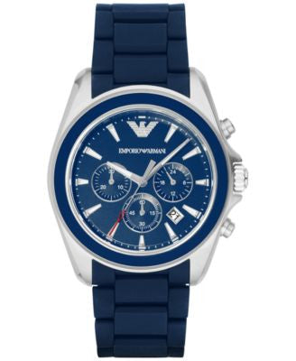 Emporio Armani Men's Chronograph Sigma Blue Rubber Strap Watch 44mm AR6068